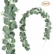 2 Pcs Artificial Silver Dollar Eucalyptus Leaves Garland 6 Ft Faux Green... - $24.99