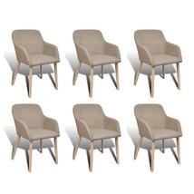 2/4/6 Upholstered Dining Side Chair Oak Frame w/ Armrest Light Gray - $144.99+