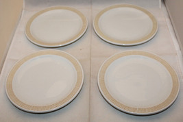 "Rosenthal White Mustard Yellow Set of 4 Dessert Pie Plate 17cm 6 3/4"" Germany - $82.18"