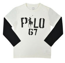 Polo Ralph Lauren White Black Long Sleeve Pony Graphic Tee Shirt Sz 7  9... - $23.55