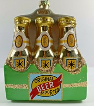 Christmas Tree Ornament Glass Gold 6 PACK Imported beer bottle liquor  - $16.82
