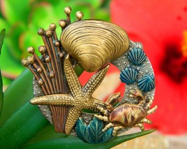 Vintage Crab Starfish Shell Brooch Pin Ocean Tropical Sea Enamel Metal - $18.95