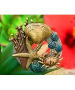 Vintage Crab Starfish Shell Brooch Pin Ocean Tropical Sea Enamel Metal - $18.95