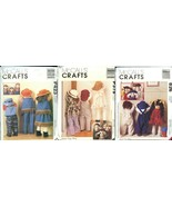 "McCall's Crafts 2062/P423 9262/P378 9605/826 3 25-36"" Dolls Clothes 3 Pa... - $24.99"