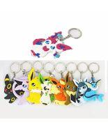 9pcs Pokemon Eevee Eeveelution Vaporeon pvc keychain keyring pendant New... - $571,10 MXN