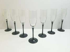 "7 Luminarc France Fluted Black Stem 8.5"" Wine Champaign Glass Romance Ce... - $38.28"
