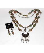 African Squash Blossom - African Opal Necklace and Earrings  - $440.00