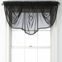 """Home Expressions Lisette Sheer Imperial Beaded Valance 90"""" W X 33 1/2"""" L Black   - $21.99"""