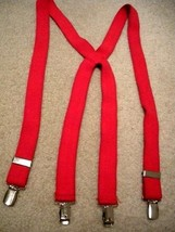 """Suspenders One Size - Clip On Fasteners and Adjusters - 1"""" Wide Red Stra... - $5.97"""
