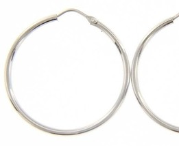 18K WHITE GOLD ROUND CIRCLE EARRINGS DIAMETER 25 MM WIDTH 1.7 MM, MADE IN ITALY image 1