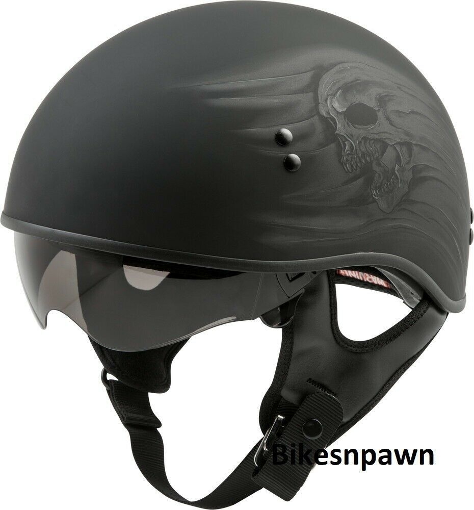 New L Matt Black Gmax Ritual GM-65 DOT Approved Half Motorcycle Helmet