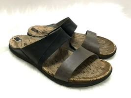Merrell Move Select Grip Performance Black Brown Leather Cork Sandals Womens 10 - $37.39