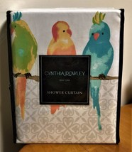 CYNTHIA ROWLEY Parakeets Birds Yellow, Green, Aqua, Teal Fabric Shower C... - $38.59