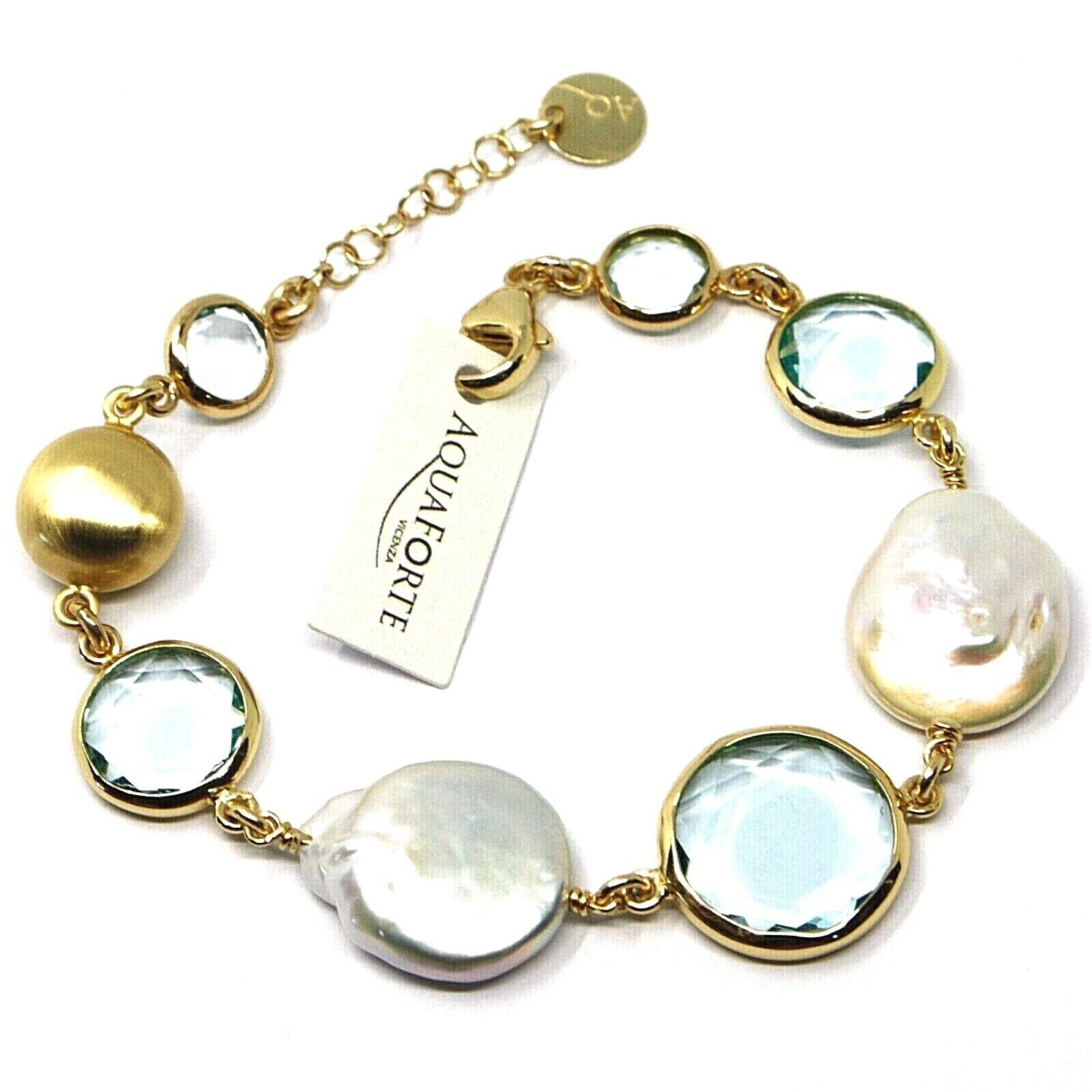 """925 STERLING SILVER YELLOW BRACELET 18cm, 7.1"""", NUGGET, BLUE GLASS PASTE, PEARL"""