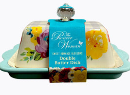 The Pioneer Woman Double Butter Dish, Sweet Romance Blossoms Pattern, NEW - $23.75