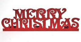 Merry Christmas 3 Tea Light Candle Holder Red Glitter Bling Mantle Cente... - $19.79