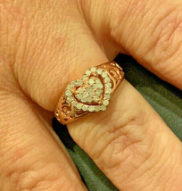 Silver Rose Gold Heart CZ Ring - $23.38