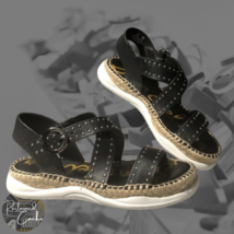 Sam Edelman Womens Black Leather Studded Flatform Buckle Espadrille Sandals Sz 6 - $65.00