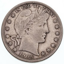 1906-D 50C Barber Half Dollar in VF Condition, Natural Color, Bold LIBERTY - $148.66