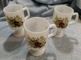 3 Vintage Spice Of Life Milk Glass Pedestal Footed Mugs Coffee Cups Vegetables - $14.84