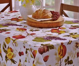"Benson Mills Botanique Fruit on White Indoor/Outdoor Tablecloth 70"" Round - $23.00"