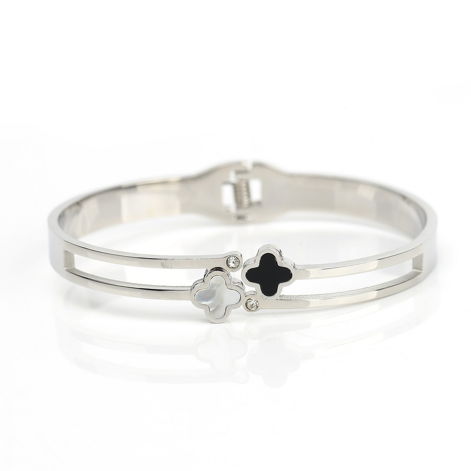 UE-Designer Clover Bangle- Swarovski Style Crystals, Faux Onyx, Mother of Pearl
