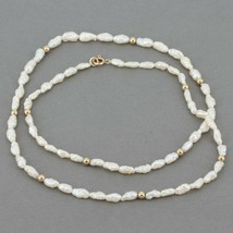 "Delicate ""Rice Krispie"" Freshwater Pearl 18"" Necklace 14K Gold Spacers & Clasp - $12.99"