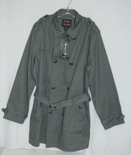 Escapism 6AA05 Cotton Trench Coat Jacket Size XL Color Charcoal Gray