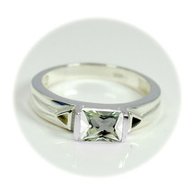 Original Green Amethyst Gemstone Sterling Silver Statement Ring Band Jew... - £17.72 GBP
