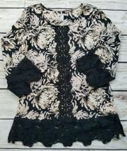 Isaac Mizrahi Live Floral Print Lace Trim Tunic Size US Small - $14.85