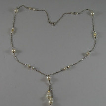 SOLID 18K WHITE GOLD NECKLACE WITH FRESHWATER WHITE PEARL AND GOLDEN BALLS  image 2