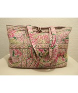 Vera Bradley Large Weekender Bag Pink Paisley Travel Tote Inside Pockets - $40.10