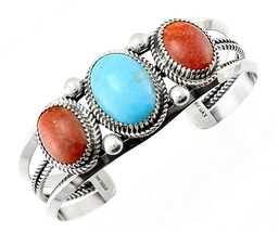 Navajo Sterling Silver Cuff Bracelet with Coral and Turquoise - $173.73