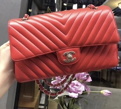 100% AUTH Chanel RARE Coral Red Lambskin Chevron Medium Double Flap Bag SHW image 2
