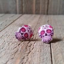 Pink Sugar Skull Earrings - $7.00