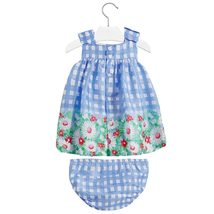 Mayoral Baby Girls 3M-24M Blue Bow Shoulder Check Plaid Border Print Dress image 2