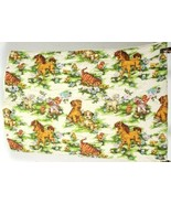 Vintage 50s Novelty Pony Lamb Print Cotton Crib Baby Blanket Bed Spread ... - $18.80