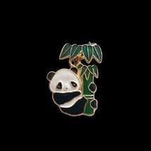 Baby Panda Bear Bamboo Tree Gold Tone Enamel Dangle Hat Lapel Collector Pin - $11.87