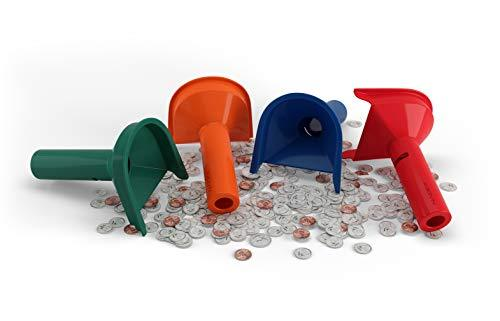 Easy Wrap Coin Stacking Tubes with 252 Coin Wrappers - Funnel Shaped Color-Coded