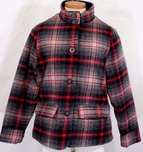 WOOLRICH Womens S/SMALL MAPLE RUN Button UP WOOL Quilt Lined BLACK PLAID Jacket image 2
