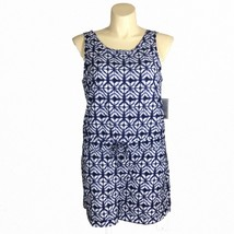 NEW Athleta XL Romper Crossback Printed Batik Short Navy Blue White Pocket - $78.06
