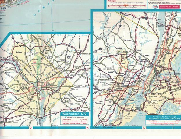 Vintage ESSO Eastern United States Road Map 1974 New York Miami Washington