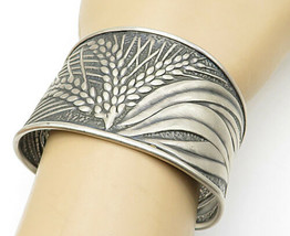 925 Sterling Silver - Vintage Wheat Leaf Patterned Tapered Cuff Bracelet... - $89.67