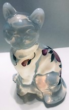 FENTON ART GLASS White OPALESCENT CAT Hand Painted Flowers Signed with Tag - $24.95