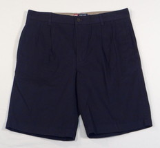 Chaps Pleated Front Navy Blue Casual Shorts 100% Cotton Mens NWT - $37.49