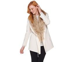 Dennis Basso Faux Leather Jacket with Removable Faux Fur Collar, Size XXS, $149 - $79.19