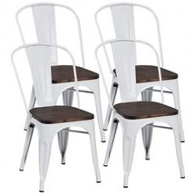 4 pcs Tolix Style Metal Dining Side Chair Stackable Wood Seat-White - Co... - $309.42