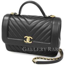 CHANEL Shoulder Bag V Stitch Calf Leather Black A57213 France Authentic ... - $2,917.61
