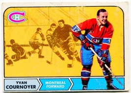 1968/69 Topps Yvan Cournoyer Card #62 Montreal Canadiens - $7.99