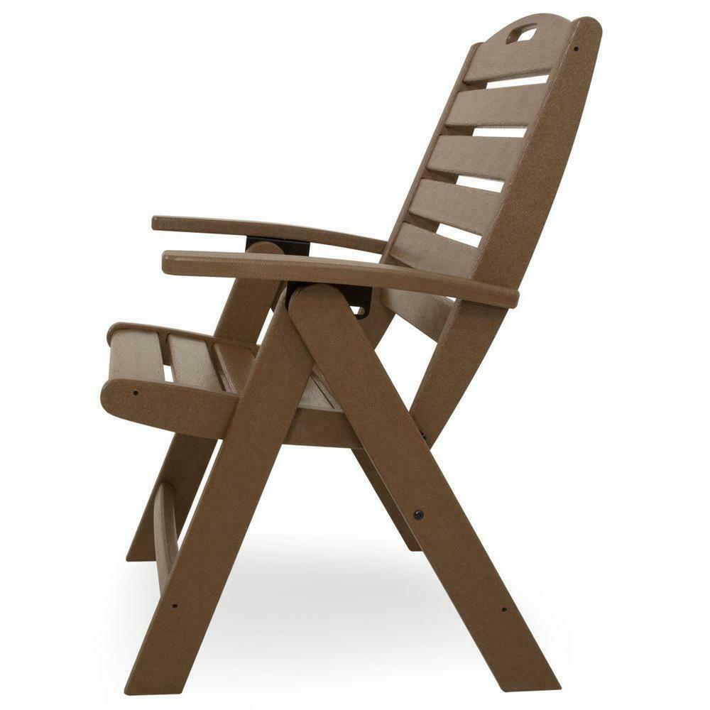Outdoor Seating Furniture Tree House Highback Patio Folding Chair in Brown Tone